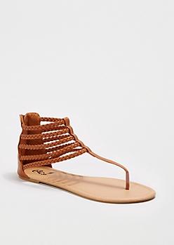 Cognac Braided Gladiator Sandal