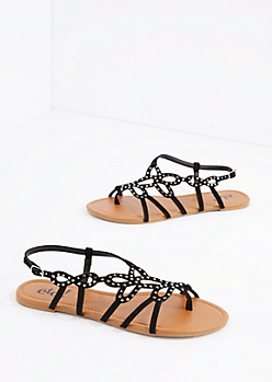 Black Swirling Stone Sandal