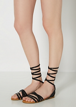 Black Lace-Up Gladiator Sandal By Bamboo®