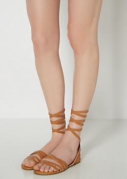 Tan Lace-Up Gladiator Sandal By Bamboo®