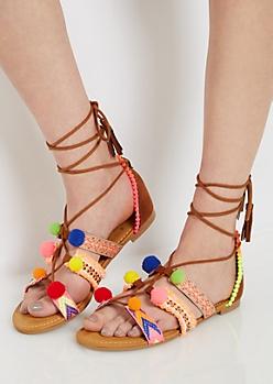 Neon Tribal Pom Gladiator Sandal