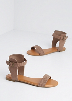 Taupe Braided Faux Suede Sandal