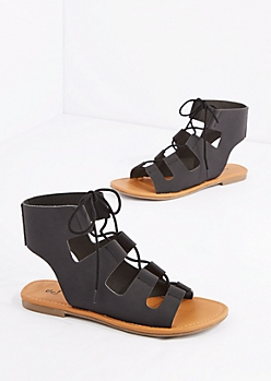 Black Cut-Out Strap Gladiator Sandal