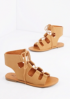 Cognac Cut-Out Strap Gladiator Sandal