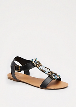 Black Stone Sandal By Qupid®