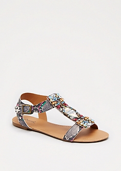 Faux Snakeskin Stone Sandal By Qupid®