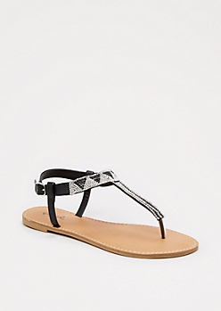 Black Geo Stone T-Strap Sandal By Qupid®