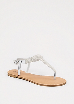 Silver Geo Stone T-Strap Sandal By Qupid®