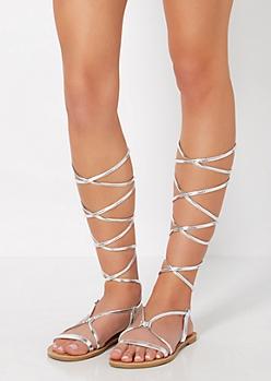 Silver Wrapped Gladiator Sandal