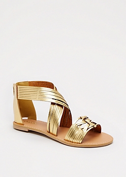 Golden Strappy Sandal By Qupid®