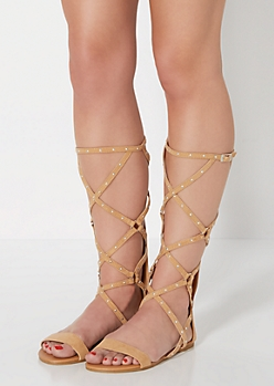 Camel Studded Gladiator Sandal by Qupid®