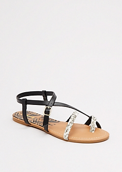 Strappy Faux Snakeskin Sandal by Qupid®