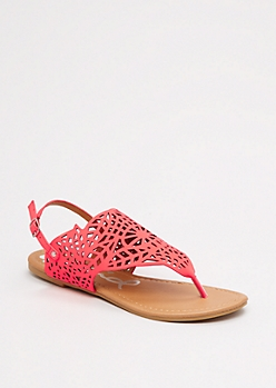 Coral Geo T-Strap Sandal by Qupid®