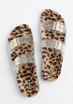 Leopard Clear Strap Slide On By Qupid