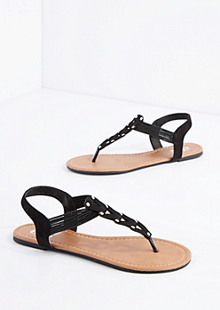 Black Chevron Studded Sandal