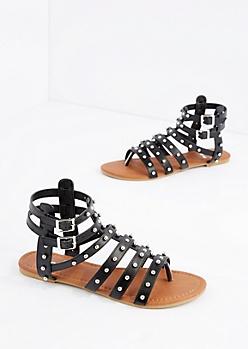 Black Rounded Stud Gladiator Sandal