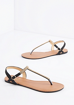 Black Chained T-Strap Sandal
