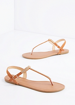 Tan Chained T-Strap Sandal