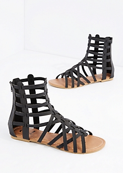 Black Cross-Strap Gladiator Sandal