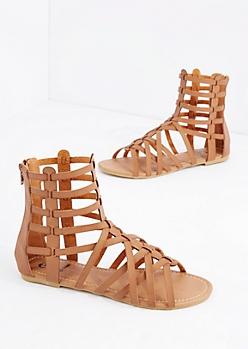 Cognac Cross-Strap Gladiator Sandal