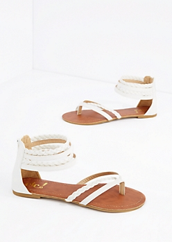 White Braided Strappy Sandal