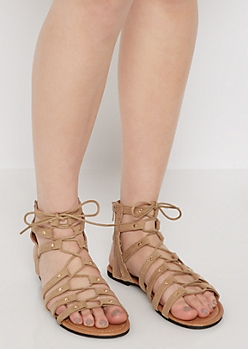 Taupe Faux Suede Lace-Up Gladiator Sandal