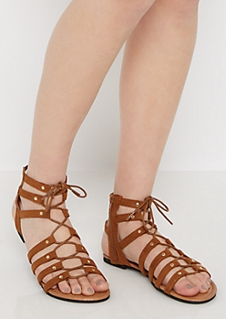 Cognac Faux Suede Lace-Up Gladiator Sandal