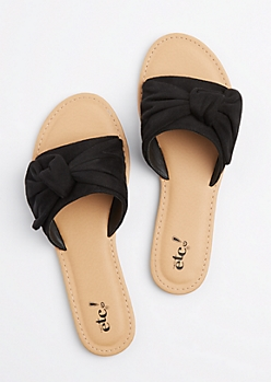 Black Faux Suede Knotted Slide On