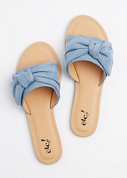 Denim Knotted Slide On