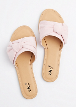 Pink Faux Suede Knotted Slide On