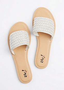 White Pearl Embellished Slide On