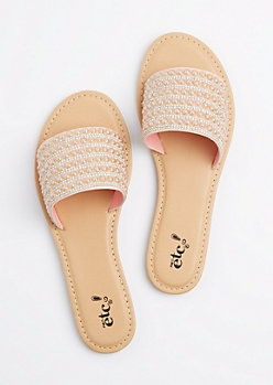 Rose Gold Pearl Embellished Slide On