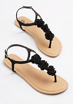 Black Floral T-Strap Sandal