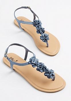 Denim Floral T-Strap Sandal