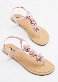 Pink Floral T-Strap Sandal