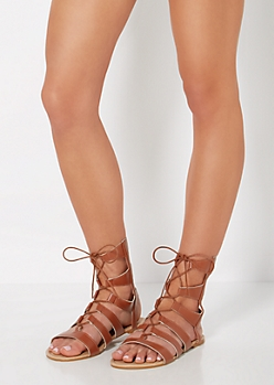 Cognac Strappy Lace-Up Gladiator Sandal