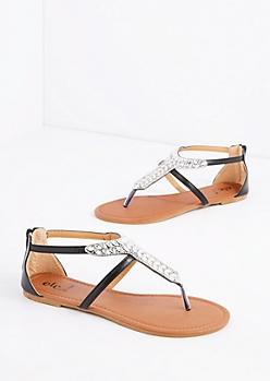Black Stone T-Strap Sandal