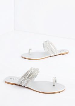 Silver Rhinestone Strappy Sandal