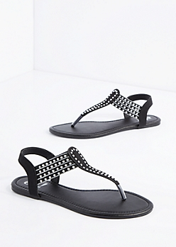 Black Layered Stud T-Strap Sandal
