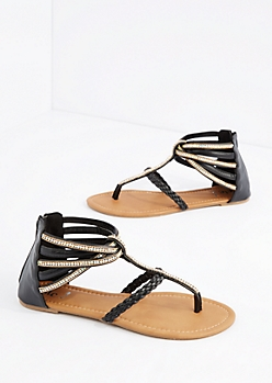 Black Strappy Stone Embellished Sandal