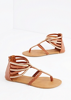 Cognac Strappy Stone Embellished Sandal