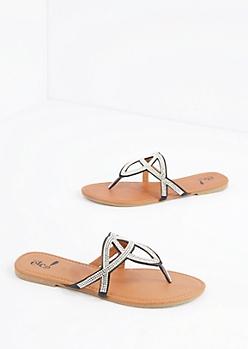 Black Geo Stone Sandal