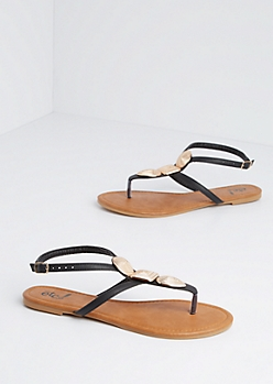 Embossed Shield Plate T-Strap Sandal