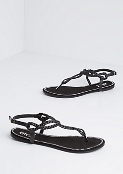 Black Stone Border Braided T-Strap Sandal