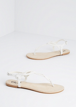 White Stone Border Braided T-Strap Sandal