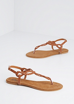 Brown Stone Border Braided T-Strap Sandal