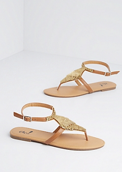 Brown Gold Beaded Shield Sandal