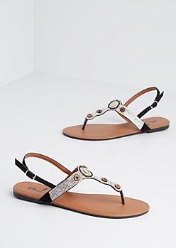 Black Cowrie Rhinestone T-Strap Sandal