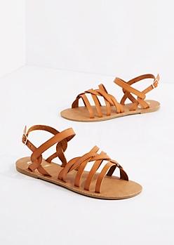 Cognac Braided Strap Sandal