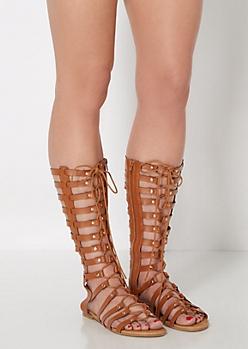 Cognac Gold Studded Gladiator Sandals